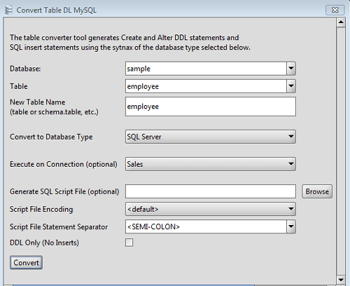 MS SQL Server Database Conversion Tool