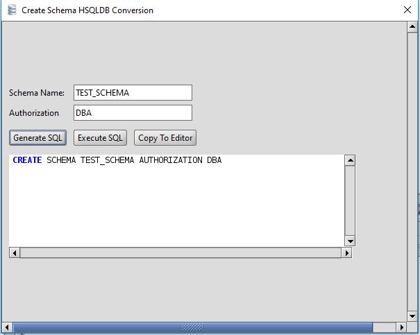 HSQLDB Create Schema
