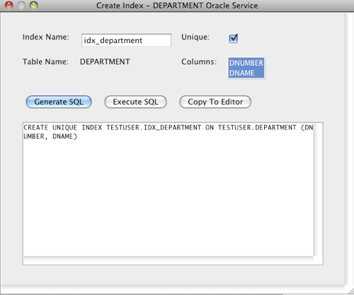 Oracle Create Index