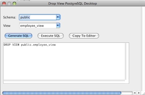 PostgreSQL Drop View