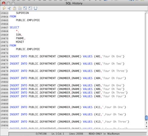 Displaying SQL History in the RazorSQL SQL Editor