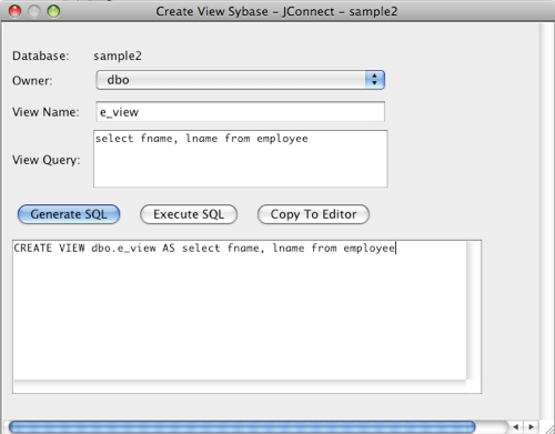 Sybase Create View