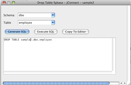 Sybase Drop Table