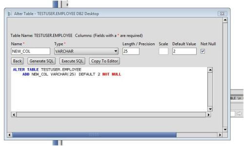Db2 add column to db2 database tables via the alter table command - Alter table modify column ...