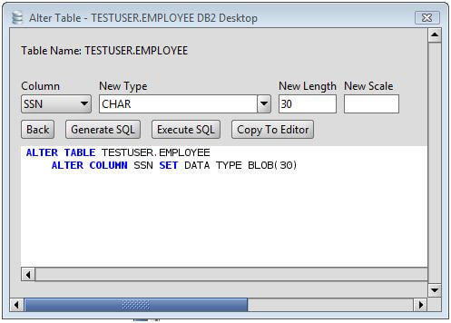 DB2 Change Column Type of DB2 Database Table Columns via the