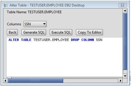 DB2 Drop Column from a DB2 Database Table via the Alter