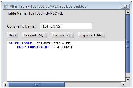 DB2 Drop Constraint from a DB2 Database Table via the Alter