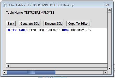 DB2 Drop Primary Key from a DB2 Database Table via the Alter