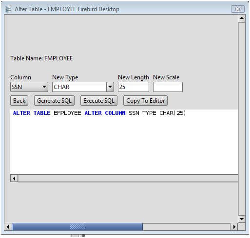 Firebird change column type of firebird database table columns via the alter table command - Alter table modify column ...