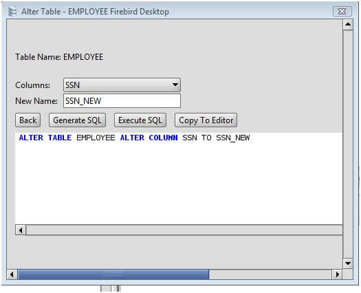 Firebird rename a column on an firebird database table using the alter table command - Alter table modify column ...