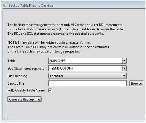Firebird Table Backup Tool