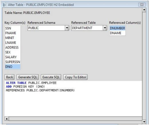 H2 add foreign key to h2 database tables via the alter table command - Alter table add foreign key ...