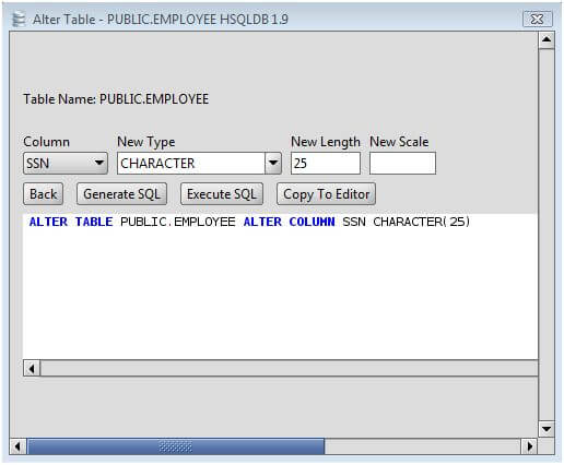 Hsqldb change column type of hsqldb database table columns - Alter table change column type ...