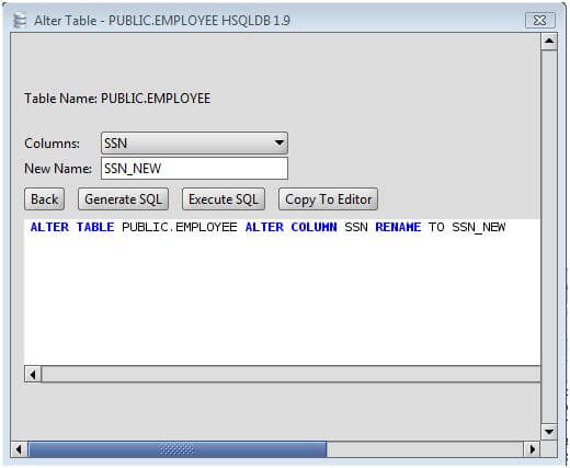 Hsqldb rename a column on an hsqldb database table using the alter table command - Alter table modify column ...