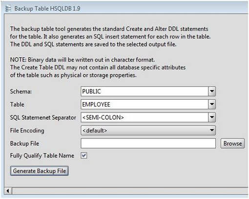 HSQLDB Table Backup Tool