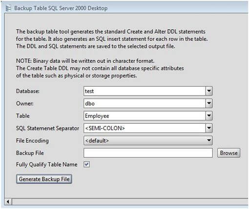 MS SQL Server Table Backup Tool