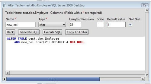 MS SQL Server Add Column to MS SQL Server Database Tables