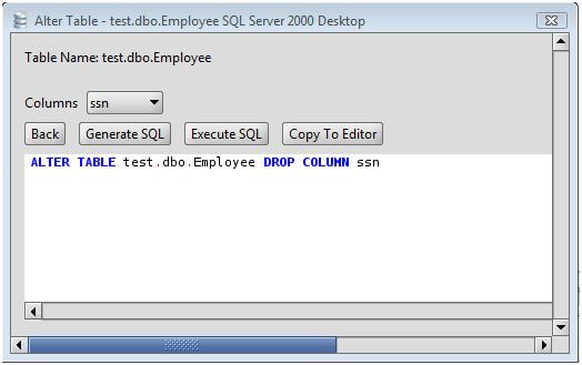 MS SQL Server Drop Column from a MS SQL Server Database