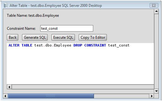 MS SQL Server Drop Constraint from a MS SQL Server Database