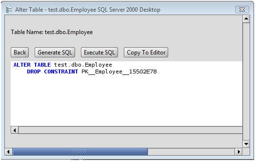 Ms sql server drop primary key from a ms sql server - Alter table add constraint primary key ...