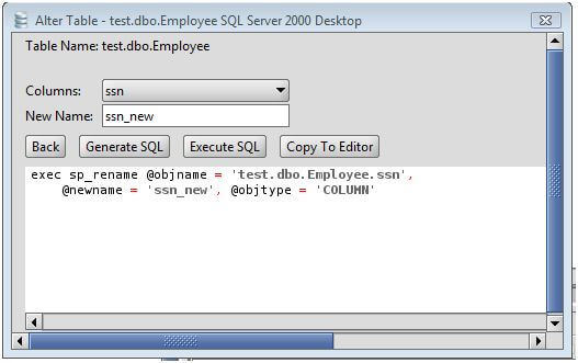 MS SQL Server Rename Column