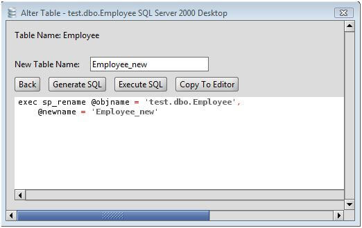 MS SQL Server Rename Table