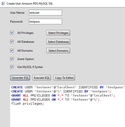 MySQL Create User