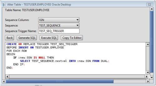 Oracle How to Add a Sequence Trigger to a Database Table