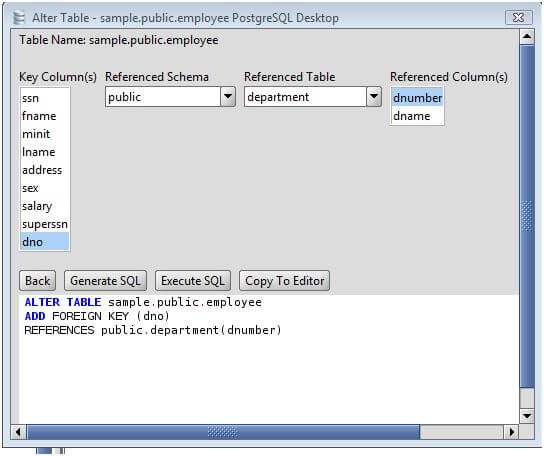 Postgresql Add Foreign Key To Postgresql Database Tables Via