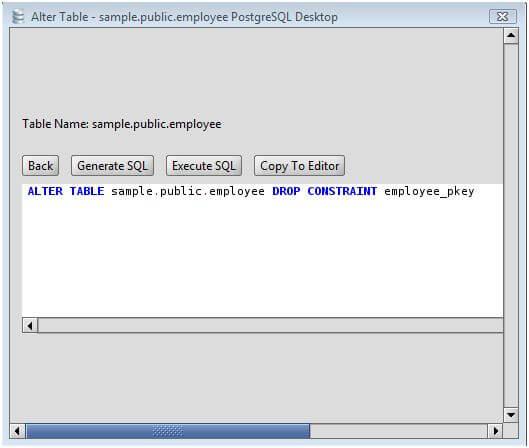 PostgreSQL Drop Primary Key from a PostgreSQL Database Table via the