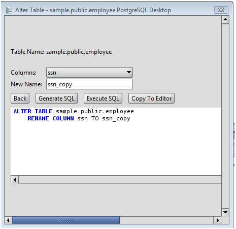Postgresql rename a column on an postgresql database table using the alter table command - Alter table modify column ...