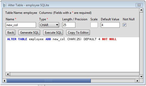 Sqlite add column to sqlite database tables via the alter - Sql server alter table add column default ...