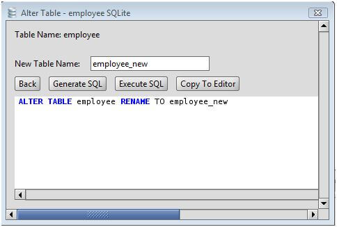 SQLite Rename an SQLite Database Table Using the Alter Table