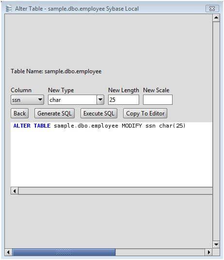 Sybase change column type of sybase database table columns - Alter table modify column sql server ...