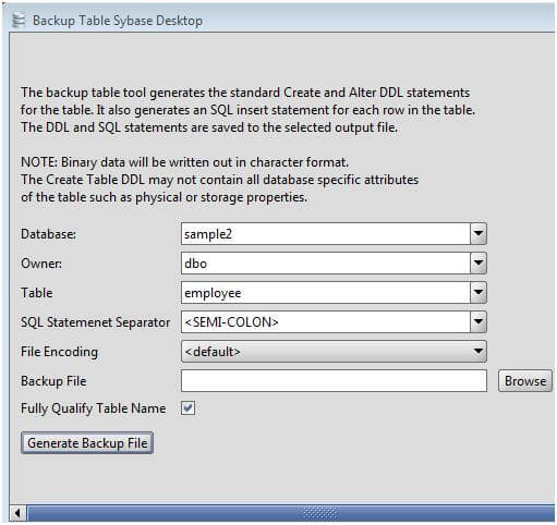 Sybase Table Backup Tool